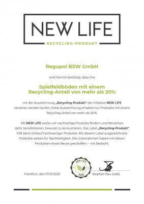 NEW LIFE Urkunde mit Recycling Label