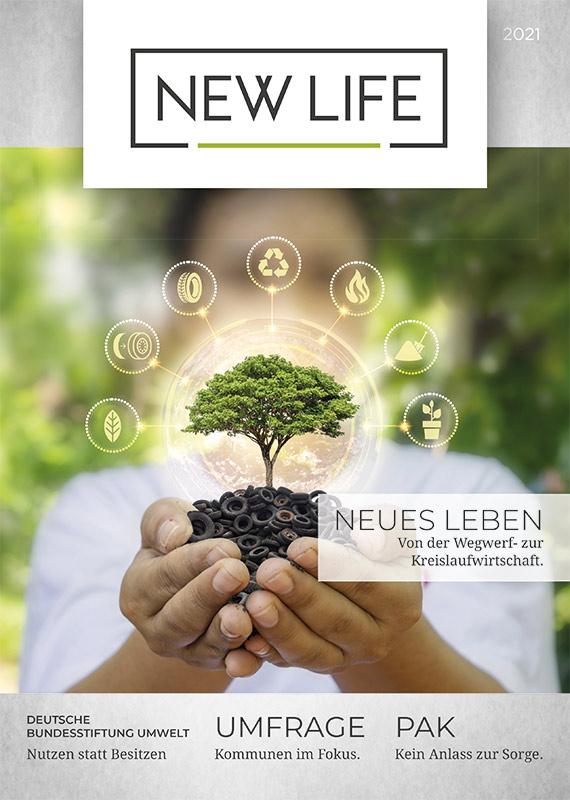 NEW LIFE Magazine Cover, Altreifen Recycling, Gummi-Recycling und Kreislaufwirtschaft